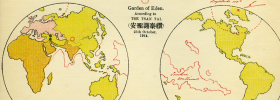 Not everyone thought Eden was in Iraq. In 1914, Hong Kong businessman Tse Tsan Tai published a map of the world showing where everyone else thought the Garden of Eden was—those two black dots over the Middle East—vs. where he thought it was—the red circle over Outer Mongolia.