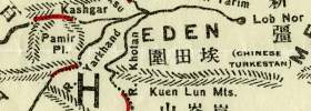 Detail from Tse's map, showing his candidates for the Bible's Four Rivers of Paradise in central Asia.